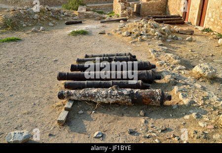 Rethymno Fortezza fortress cannons - Stock Photo