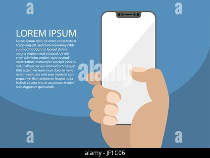 Vector illustration of hand holding bezel-free / frameless modern smartphone. Placeholder for personal design on - Stock Photo