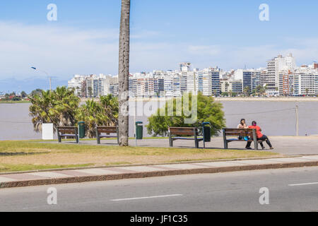 Boardwalk at Pocitos Beach Montevideo Uruguay - Stock Photo
