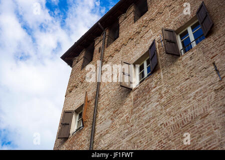 PARMA, ITALY - APRIL 2017 : The Rocca Sanvitale of Fontanellato stands, charming, in the center of the village, - Stock Photo