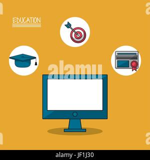 colorful poster of education with computer in closeup and icons of graduation - Stock Photo