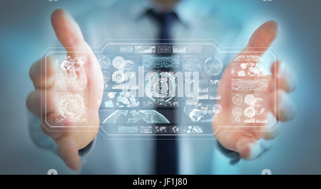 Businessman on blurred background using digital screens with holograms datas 3D rendering - Stock Photo