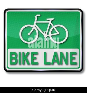 sign bike lane - Stock Photo
