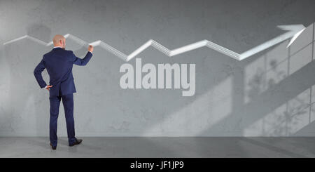 Businessman in modern interior drawing arrow sketch on a wall 3D rendering - Stock Photo