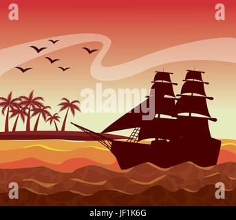 colorful poster sunset sky landscape of palm trees on the beach and sailboat on the waves - Stock Photo
