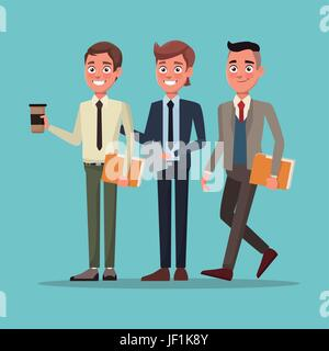 Color Background Full Body Set Of Executive Men Jf K Y on Caricature Woman Executives