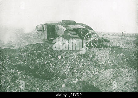 Tank at the Battle of the Somme, 1916 - Stock Photo