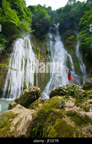 Woman looking at the beautiful Mele-Maat cascades in Port Vila, Island of Efate, Vanuatu, South Pacific, MR - Stock Photo