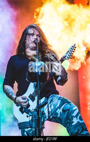 June 16, 2017: Sabaton performing live at the Hellfest Festival 2017 in Clisson, near Nantes Photo: Alessandro Bosio - Stock Photo