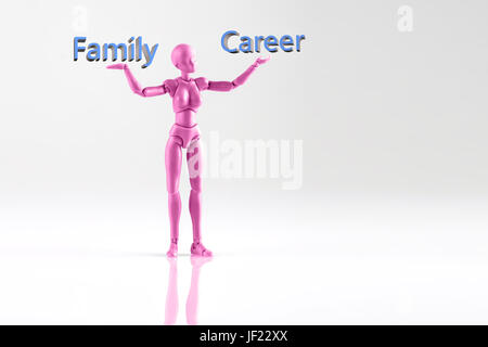 Pink female figurine standing on white background with words Family and Career. Concept of choice between having - Stock Photo