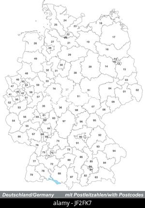 map of germany with postal codes - Stock Photo