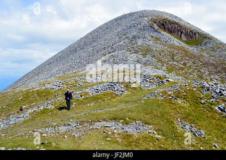 Lone Male Hill Walker on the Western Ridge of the Scottish Mountain Graham Beinn Shiantaidh from the Corbett Beinn - Stock Photo