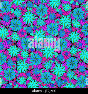 Vibrant Floral Collage Seamless Pattern - Stock Photo