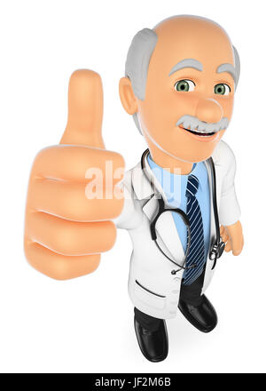 3d medical people illustration. Doctor with thumb up. Isolated white background. - Stock Photo