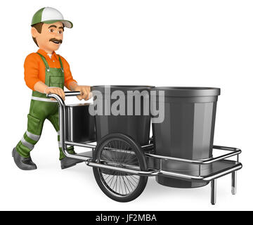 3d working people illustration. Street sweeper working with his garbage trolley. Isolated white background. - Stock Photo