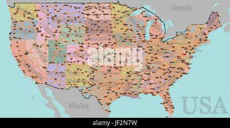 Vector High Detailed Accurate Exact United States Of America - Usa map with labeled states