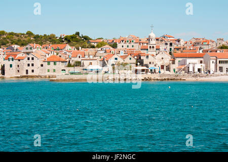 Panorama from the sea of old village Prvic Sepurine on the island Prvic, near Vodice and Sibenic, Croatia - Stock Photo