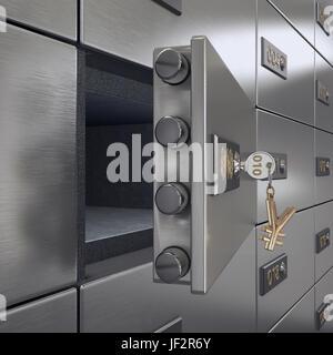 3D rendering safe deposit boxes - Stock Photo