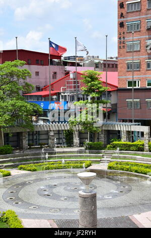 Taiwan flag flying over park in Xinzhuang District New Taipei City. - Stock Photo