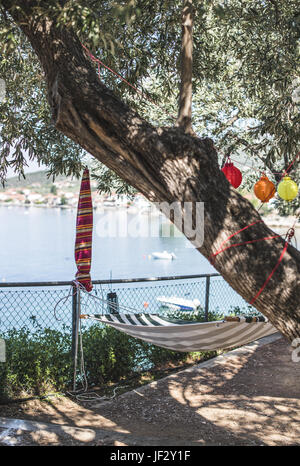 Hammock under the olive trees on the beach - Stock Photo