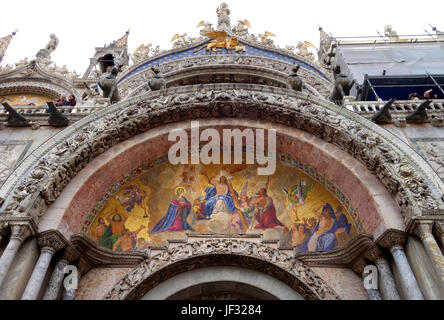 Mosaic at the entrace to San Marco Basilica in Venice, depicting the Last Judgement, with Christ at the centre and - Stock Photo