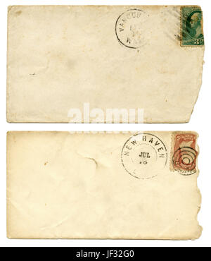 Pair of antique c1880 stamped and canceled envelopes. - Stock Photo