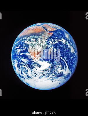 This classic photograph of the Earth was taken on December 7, 1972. The original caption is reprinted below:  View - Stock Photo