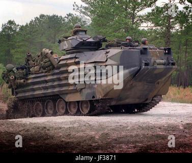960513-M-398O-006   An Amphibious Assault Vehicle belonging to Delta Company, 2nd Amphibious Assault Battalion speeds - Stock Photo