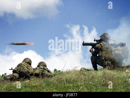 980312-M-1086K-002 A Marine fires a Shoulder Launched Multipurpose Assault Weapon at a target on the range at Townshend - Stock Photo