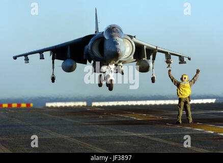 051203-N-9866B-072  Navy Petty Officer 1st Class Roberto Gonzales directs a Marine Corps AV-8B Harrier as it lands - Stock Photo