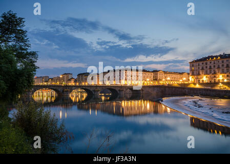 Turin scenic view of river Po and Piazza Vittorio with elegant architecture - Stock Photo