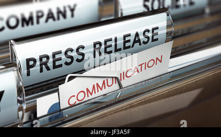 3D illustration of a press release file. Concept of business communication. - Stock Photo