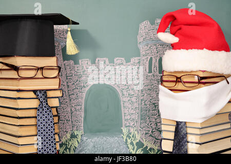Unusual Santa Claus and professor from books before blackboard with drawing chalk of gate to future - Stock Photo