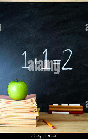 A school chalkboard and teacher's desk with stack of exercise books and an apple.  The sum '1 + 1 = 2' is written - Stock Photo