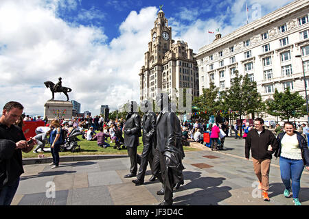 The Beatles Statue at the Pier Head Liverpool - Stock Photo