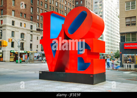 Love sculpture at 55th street in New York - Stock Photo