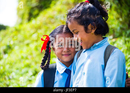 Schoolgirls in the hills above Pokhara, Nepal - Stock Photo