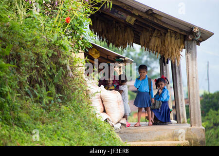 School girls in the hills above Pokhara, Nepal - Stock Photo
