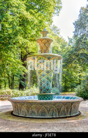 Mosaic fountain in Dresden - Stock Photo
