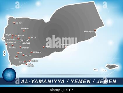 card, yemen, land, realty, ground, atlas, map of the world, map, blue, model, - Stock Photo