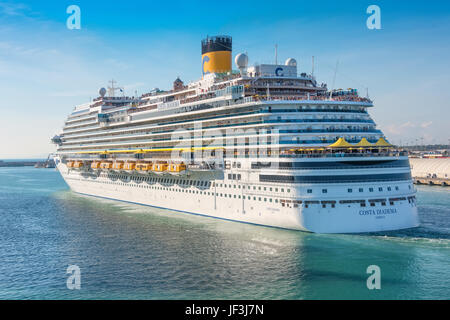 Rome, Italy - June 10,2016:  Passengers aboard the Costa Diadema cruise ship gather on deck for the departure from - Stock Photo