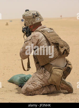 U.S. Marine Lance Cpl. Dillon George, a rifleman with Baker Company, 1st Battalion, 7th Marine Regiment, Special - Stock Photo