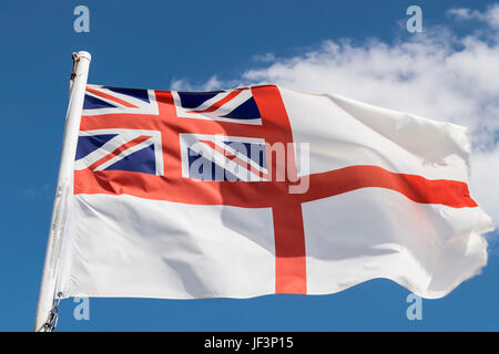 The White Ensign Standard of the Royal Navy - Stock Photo