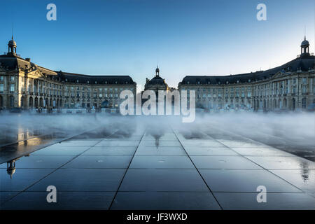 Place de la Bourse and water mirror in Bordeaux - Stock Photo