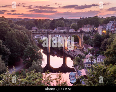 Railway Viaduct over the River Nidd at Dusk Knaresborough Yorkshire England - Stock Photo