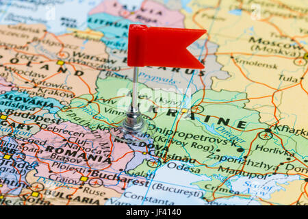 Moldova flag in the focus Europe map with countries flags Shallow