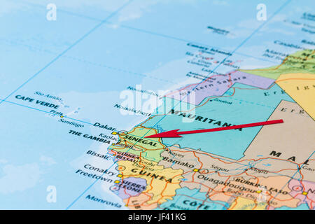 Photo of Senegal. Country indicated by red arrow. Country on African continent. - Stock Photo