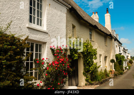 Row of pretty chocolate box cottages in the village of Noss Mayo,  Newton Ferrers, on the banks of the Yealm Estuary, - Stock Photo