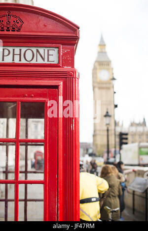 Big ben and red phone cabine - Stock Photo