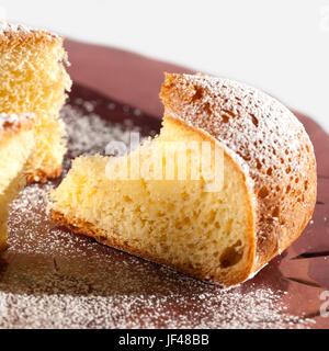 Slice of custard pie on white background - Stock Photo
